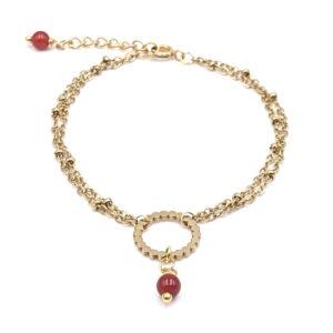 bracelet-acier-dore-cornaline